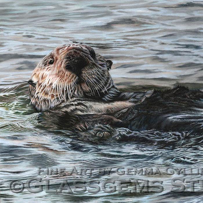 """Treasures of the Elkhorn Slough"", Sea Otter in Pastel on Pastelmat Card, 12"" x 16"""