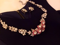 Necklace: Unsigned, Pink Rhinestone and Diamante, 1950s Earrings: Weiss, Diamante Flowers, 1960s
