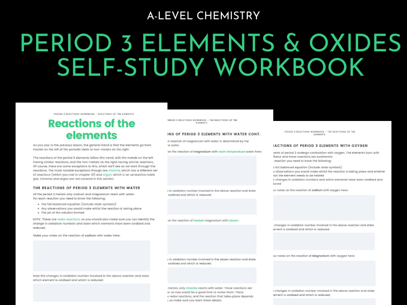 Period 3 elements and oxides workbook