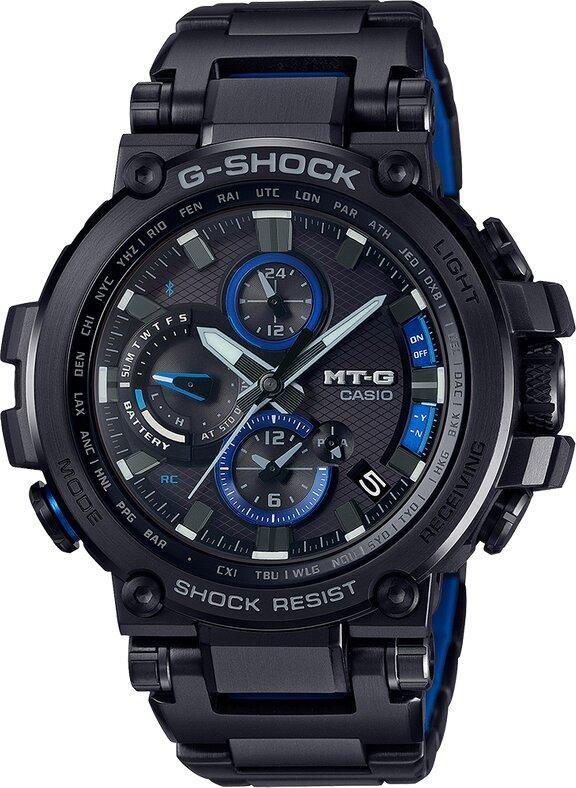 G-SHOCK G-SHOCK Men's MT-G Multiband 6 Solar Power Men's Watch - Black & Blue - Gemorie