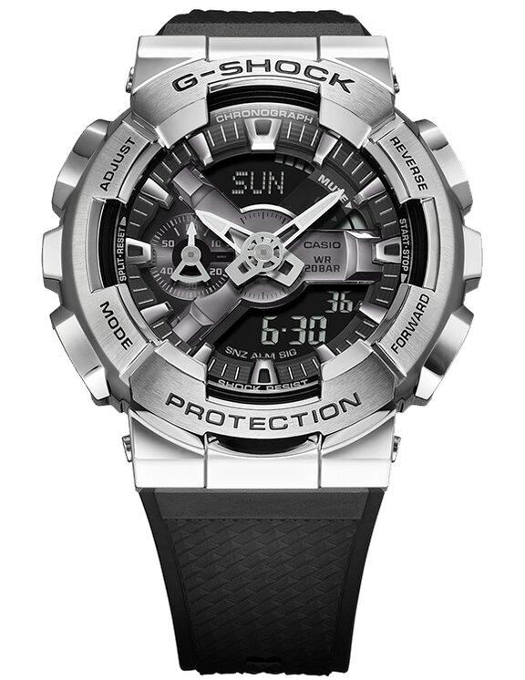 G-SHOCK G-SHOCK Silver Bezel Hourly Time Signal Men's Watch - Stainless Steel and Black - Gemorie
