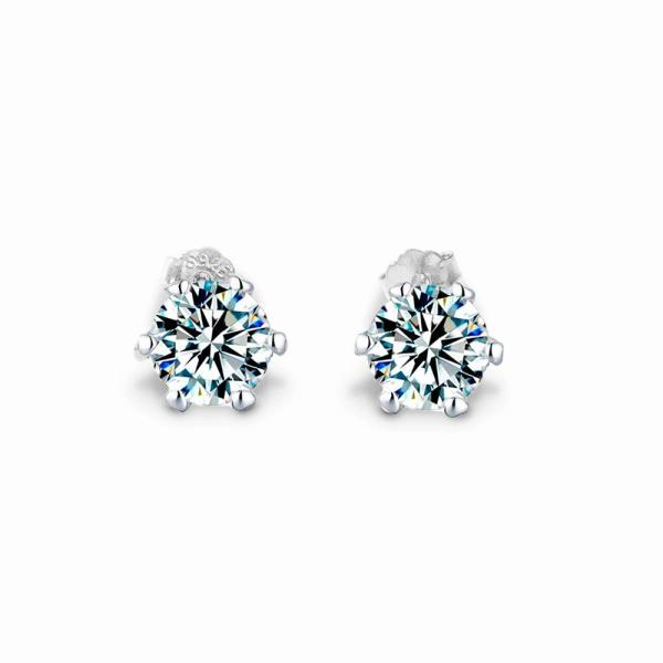 "GEMODA GEMODA ""Classique"" Moissanite Solitaire Earrings in 925 Sterling Silver - Gemorie"