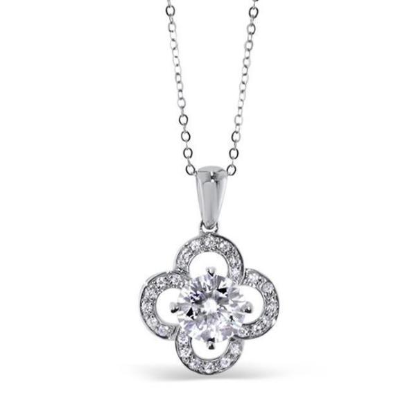 "GEMODA GEMODA ""Flora"" 1ctw Moissanite Clover Pendant Necklace in 18k White Gold - Gemorie"