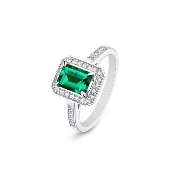 "GEMODA GEMODA ""Manhattan"" 1 Ct Green Emerald Cut Moissanite Ring in 925 Sterling Silver - Gemorie"