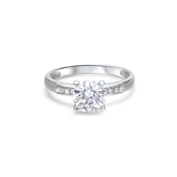 """GEMODA GEMODA """"Moments"""" 1ctw Moissanite Engagement Ring in 18k White Gold Diamond Setting - Gemorie"""