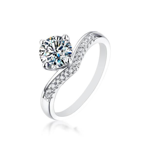 "GEMODA GEMODA ""Mykonos"" Channel Set Moissanite Engagement Ring in 925 Sterling Silver - Gemorie"