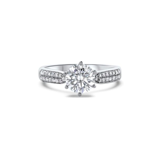 "GEMODA GEMODA ""Radiance"" Moissanite 1ctw Round Pave 18k Gold Engagement Ring - Gemorie"