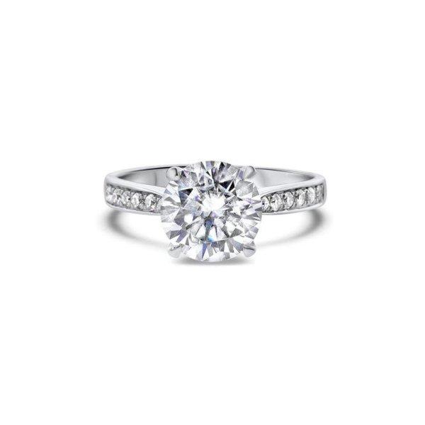 "GEMODA GEMODA ""Royal"" Moissanite 2.5ctw Brilliant Round 18k White Gold Engagement Ring - Gemorie"