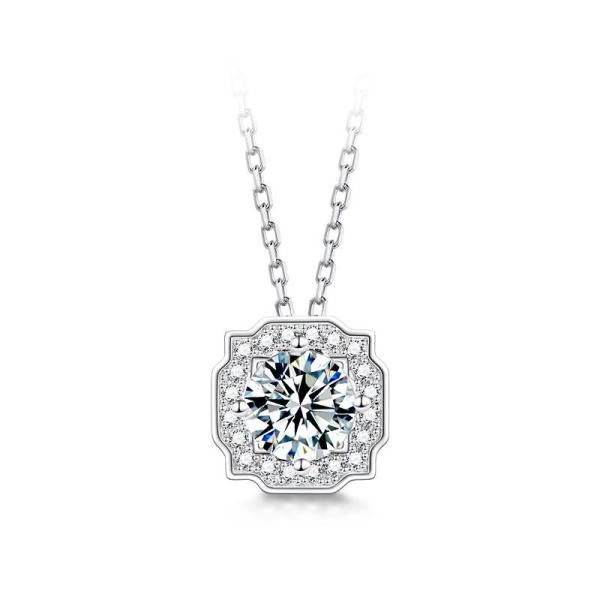 "GEMODA GEMODA Women's ""Cadence"" Vintage-Inspired 1 Carat Moissanite Necklace with Milgrain Details - Gemorie"