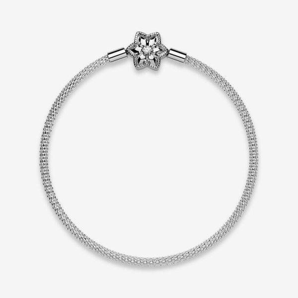 Pandora PANDORA Pandora Moments Bright Snowflake Clasp Mesh Bracelet - Gemorie