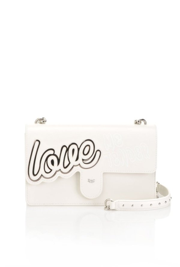 "PINKO PINKO- Leather ""Love Love"" Bag in Inlay- Silver Grey - Gemorie"