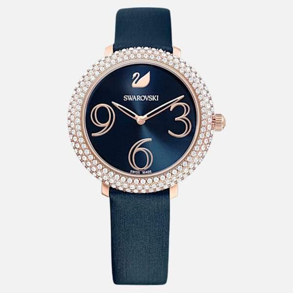 Swarovski SWAROVSKI Crustal Frost Leather Watch - Blue & Rose Gold - Gemorie