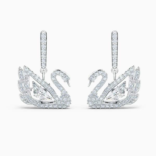 Swarovski SWAROVSKI Dancing Swan Pierced Earrings - White and Rhodium Plated - Gemorie