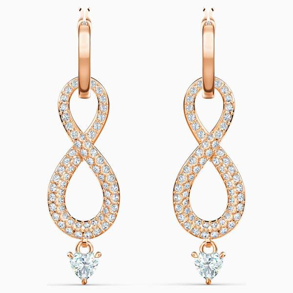 Swarovski SWAROVSKI Infinity Pierced Earrings - White & Rose-Gold Tone Plated - Gemorie