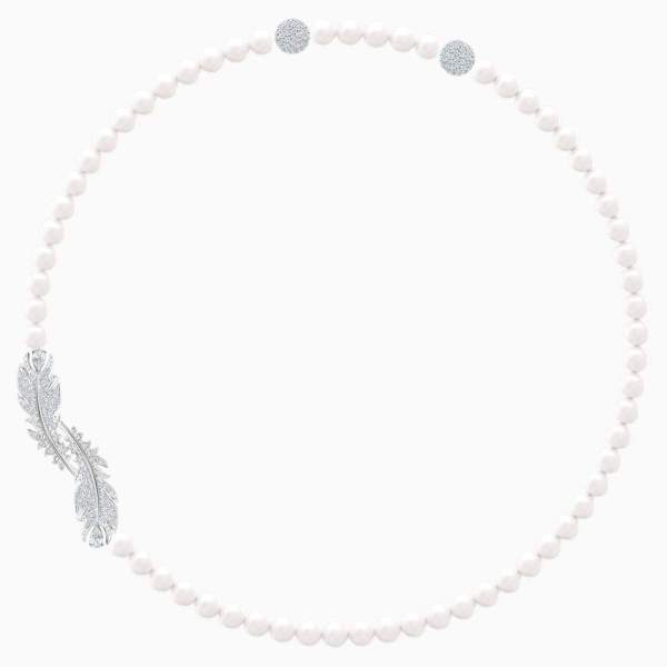 Swarovski SWAROVSKI Nice Crystal Pearl Necklace - White & Rhodium Plated - Gemorie
