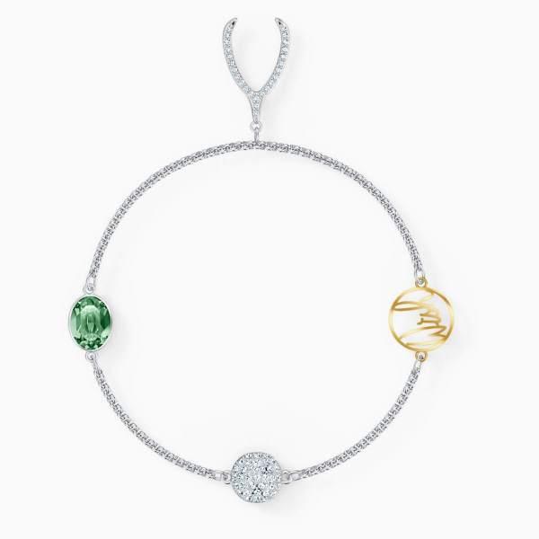 Swarovski SWAROVSKI Remix Collection Strand Bracelet - Green & Rhodium Plated - Gemorie