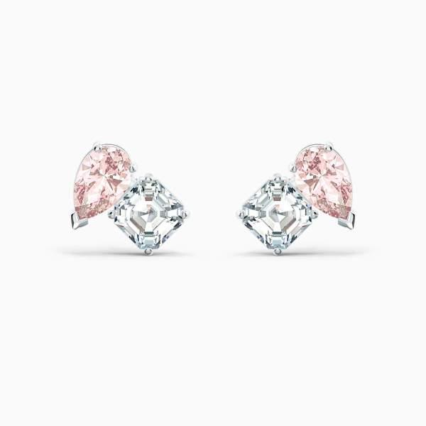 Swarovski SWAROVSKI Soul Pierced Earrings - Pink & Rhodium Plated - Gemorie
