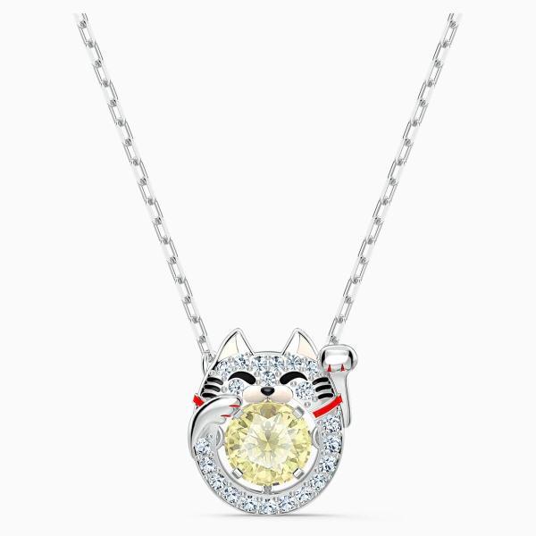 Swarovski SWAROVSKI Sparkling Dance Cat Necklace - Light Multi-Colored & Rhodium Plated - Gemorie