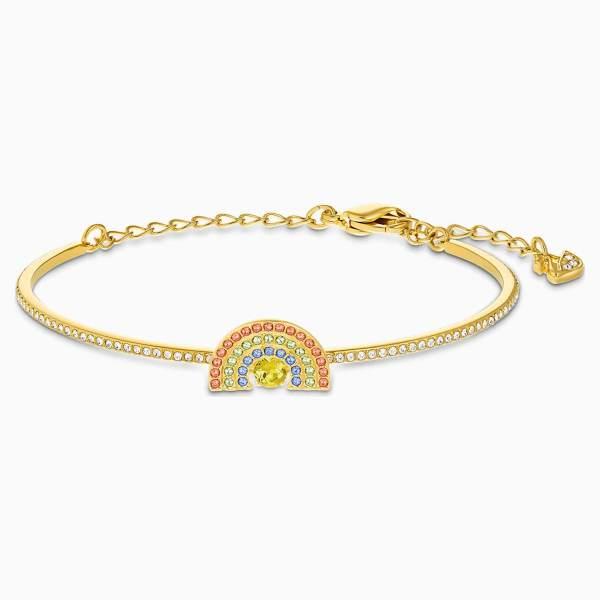 Swarovski SWAROVSKI Sparkling Dance Rainbow Bangle - Light Multi-Color & Gold-Tone Plated - Gemorie