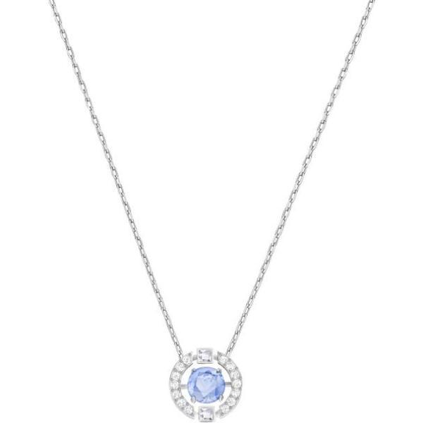 Swarovski SWAROVSKI Sparkling Dance Round Necklace - Blue & Rhodium Plated - Gemorie