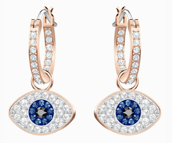 Swarovski SWAROVSKI SYMBOLIC EVIL EYE HOOP PIERCED EARRINGS, BLUE, ROSE-GOLD TONE PLATED - Gemorie