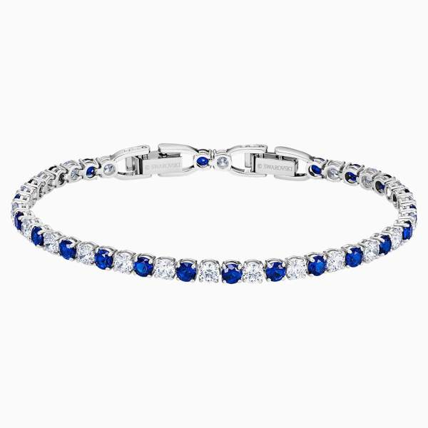 Swarovski SWAROVSKI Tennis Deluxe Bracelet - Blue & Rhodium Plated - Gemorie