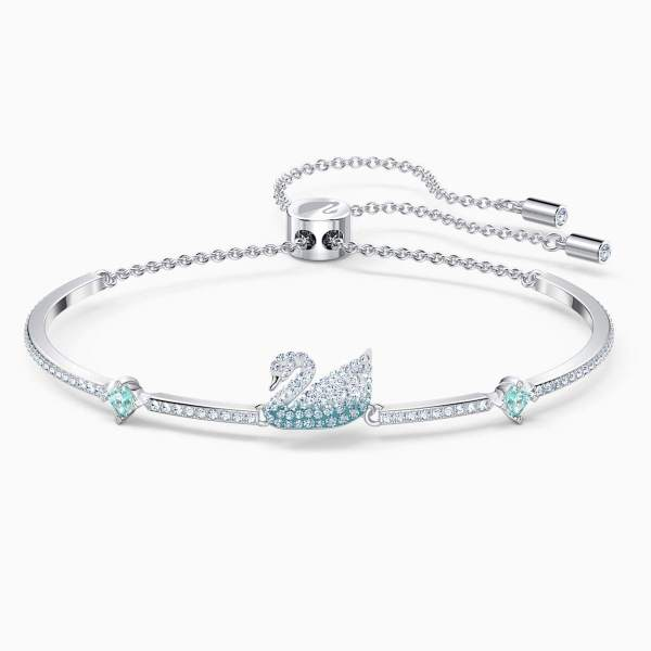 Swarovski SWAROVSKI Women's Timeless Iconic Swan Bangle - Blue - Gemorie