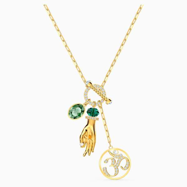 Swarovski SWARVOSKI Symbolic Hand Om Pendant - Green & Gold Tone Plated - Gemorie