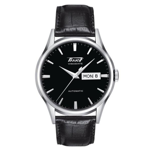 Tissot TISSOT Heritage Visodate Automatic Curved Dial Leather Men's Watch - Black - Gemorie