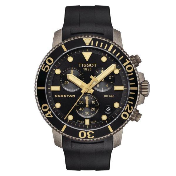 Tissot TISSOT Seastar 1000 Chronograph T-Sport Collection Screw Down Crown Watch - Black - Gemorie
