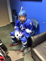 Round 3, Eastern Conference Final: Lightning vs. Rangers. Matthew waiting to do the Thunder Skate