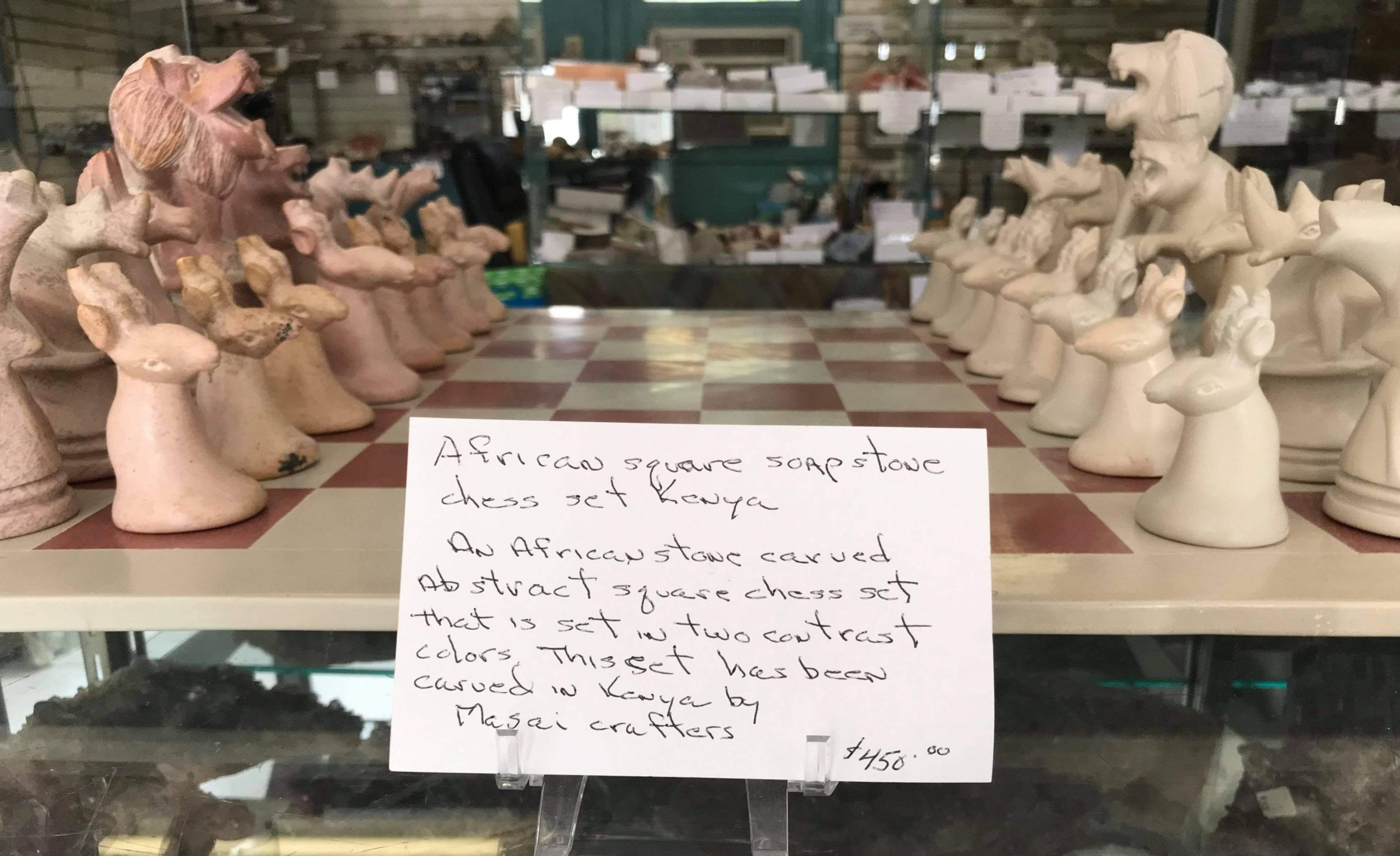 in-store sign describing the chess set