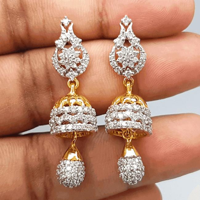 Diamond Jhumka - ডায়মন্ড বা হীরার ঝুমকা - Gems Jewellers & Gems Stone