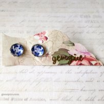 Blue Floral Scallop Earrings @ $10.90 (SOLD)
