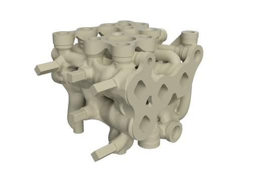 Render of the first iteration of the hydraulic manifold showing additional stock material and fixturing points.