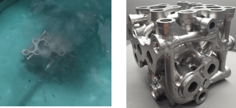 (left) Photo showing the manifold in the chemical etching bath and (right) a photograph showing the hydraulic manifold after the chemical etching process. You can see a significant improvement of the surface roughness of the component