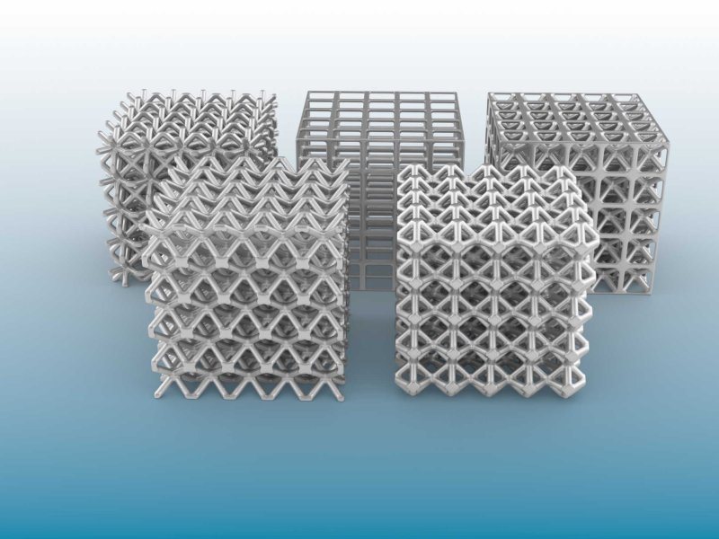 A range of strut based lattice structures compromising different unit cell types