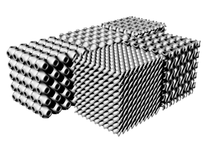 Examples of different TPMS gyroid structures - types of lattices for additive manufacturing