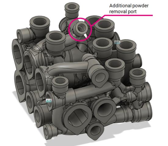 Additional powder removal port of hydraulic manifold