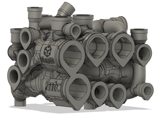 Extra material added to the hydraulic manifold redesign for additive manufacturing