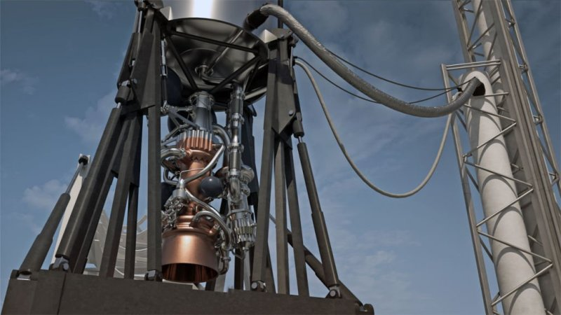A digital render of the E-2 engine on the Launcher Light launch vehicle for small satellites (Courtesy Launcher)