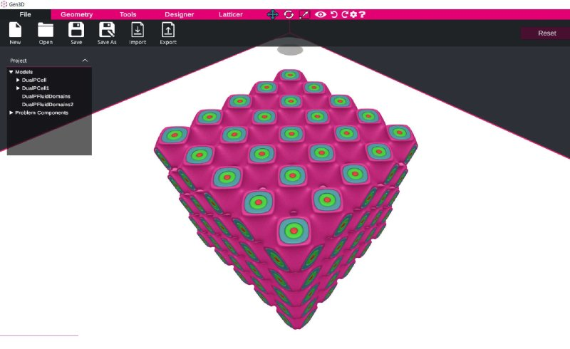 Multi domain lattice designed in Sulis by Gen3D - and example of good CAD software