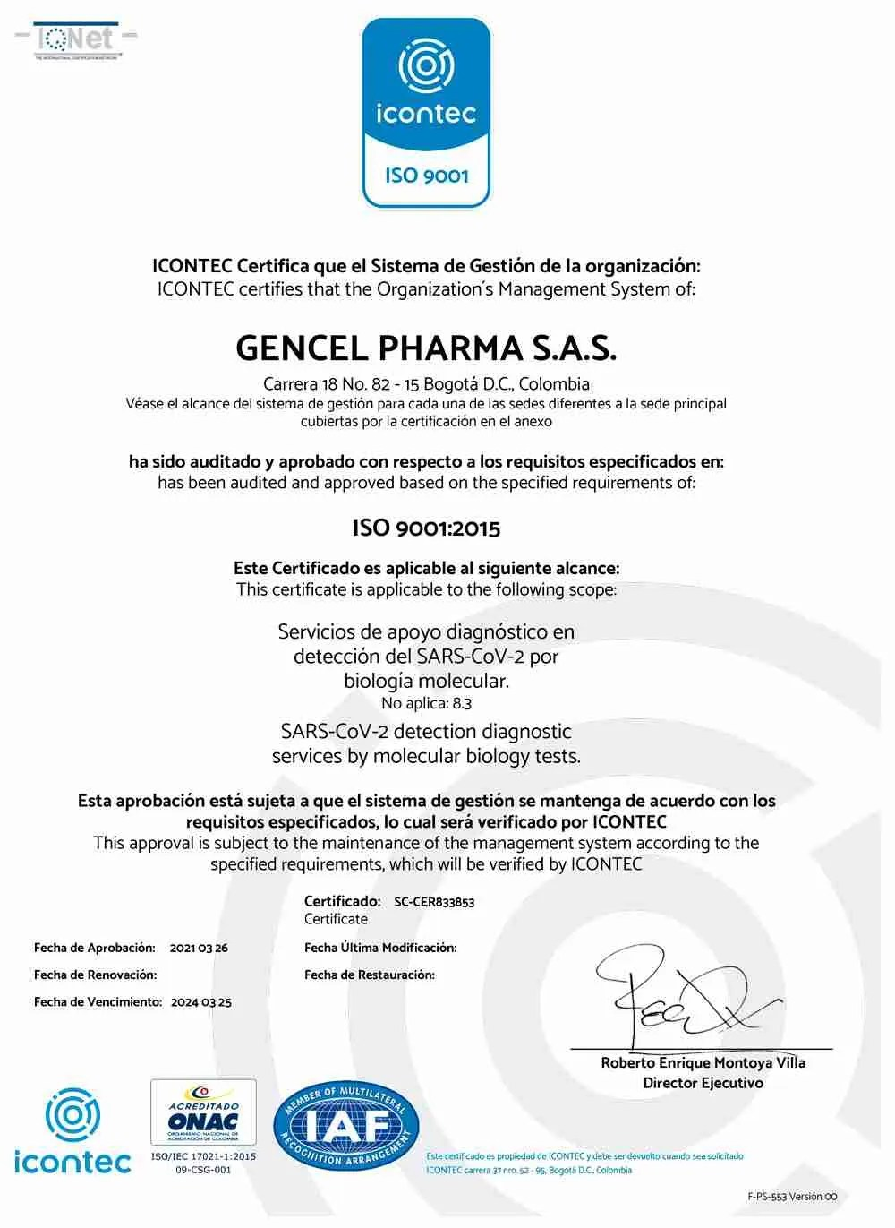 icontec ISO-9001 - Gencell Pharma