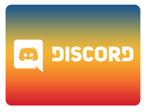 Image of Discord logo over rainbow gradient background