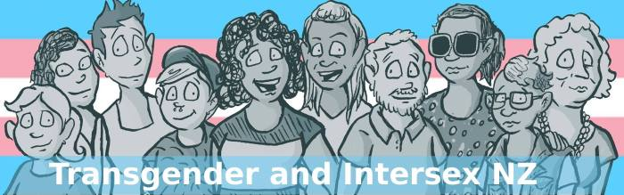an illustration of 10 transgender, takaapui, and intersex people of various ages and ethnicities standing together smiling. In the background is the blue, pink, and white stripes of the transgender flag. In front of them, along the bottom of the image, the words 'Transgender and Intersex NZ'