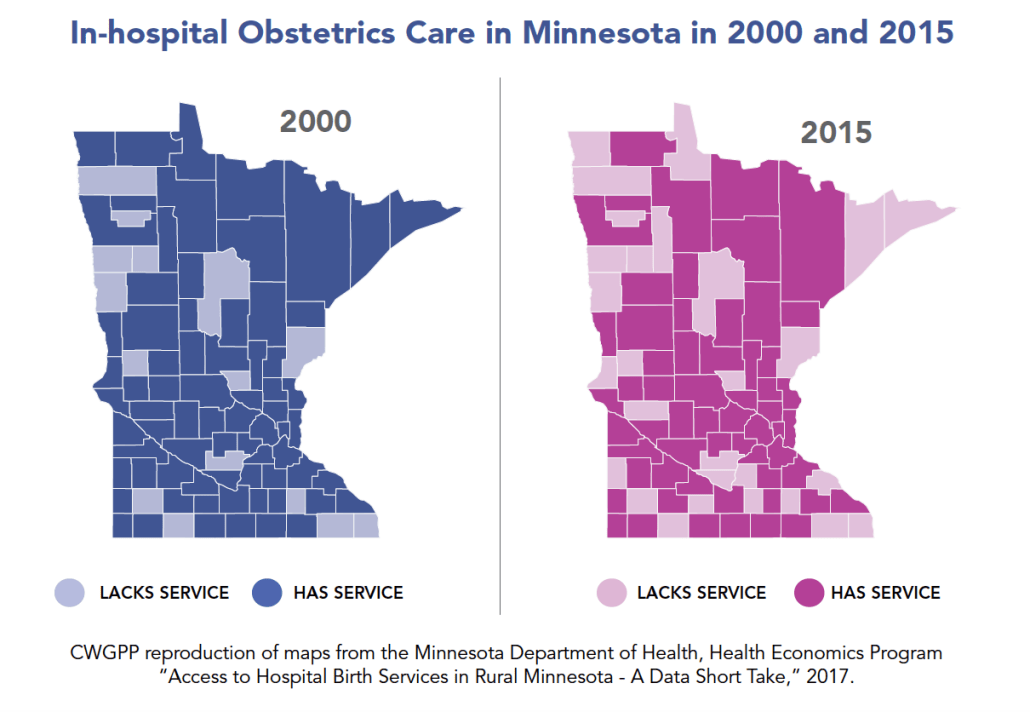 Maps showing hospital obstetrics care in Minnesota in 2000 and 2015