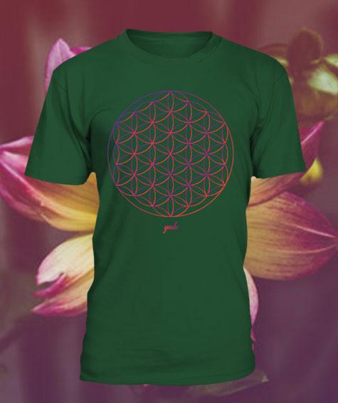 Gendu T-Shirt Blume des Lebens dunkelgrün