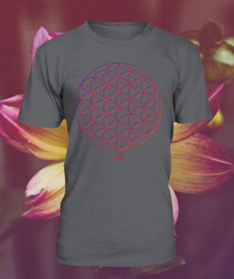 Gendu T-Shirt Blume des Lebens grau