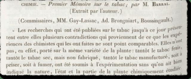 Comptes rendus hebdomadaires des séances de l'Académie des sciences <br> Premier mémoire sur la tabac par M. BARRAL – Gallica