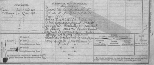 extrait livret militaire Alphonse 1916